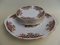 Colclough Bone China, Royale, Cake Plate & 6 16cm Side Plates.