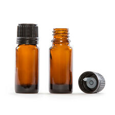 100 X 10 ml Empty Brown Glass Dropper Bottles With White CAPS & Droppers