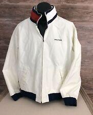 Tommy Hilfiger Men's Vtg. White Nylon Zip Jacket Blue Cuffs sz Large Flag Collar