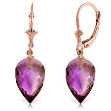 19 CTW 14K Solid Rose Gold Drop Briolette Amethyst Earrings