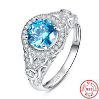 2.45CT Round Cut Swiss Blue Topaz 100% 925 Sterling Silver Ring Size L½ N½ P½ R½