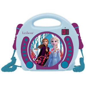 Lexibook Disney Frozen II CD Player with Microphones Kids Portable Stereo