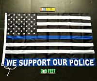 We Support Our Police Flag FREE FIRST CLASS SHIP Trump Blue Bar 2020 Cop Law 3x5