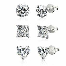 3 PACK Stud Earrings in 18K White Gold Filled Swarovski Crystals with Gift Box