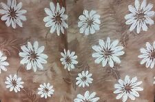 "THIN FLANNEL BACK Vinyl Tablecloth 52""x90"" Oblong,(6-8 pp) White Flowers, brown"