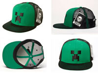 Minecraft Creeper Snap Back Cap Black/Green Hat with Mesh   JINX 100% GENUINE