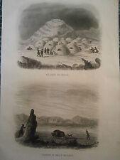 gravure Amérique  an 1850 Canada Village  neige igloo et chasse au boeuf musqué