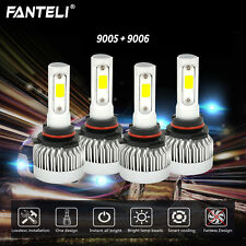 4 Bulbs Kit 9005 9006 Fanless LED 393000LM Combo Headlight High Low Beam 6000K
