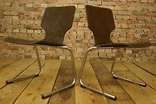 60er Vintage Esszimmer Stuhl Designer Holz Freischwinger Stapelstuhl Chrom 1/4