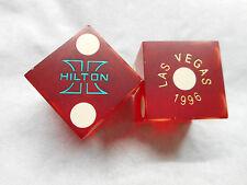 Pair of Closed 1996 LAS VEGAS HILTON LV Casino Dice - Matte Dark Red, No #s