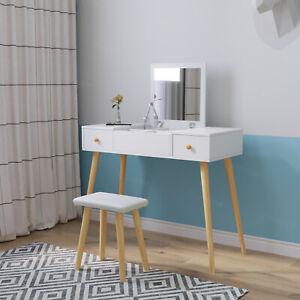 Folding Makeup Mirror Dressing Table w/2 Drawers Wood Desk Space Saving White UK