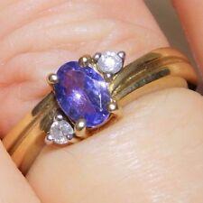 9CT YELLOW GOLD  OVAL TANZANITE & DIAMOND 3 STONE   RING  Size N