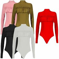 New Ladies Polo Neck Ruched Frill Soft Bodysuit Leotard Tops 8-14