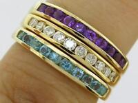 R165- Genuine 9K 9ct Gold Natural Gemstone Wedding Band Ring Channel Set