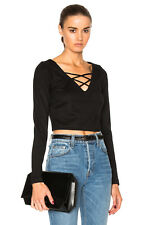 L'AGENCE Ava Cropped Lace Up Black stretchy Top Large NWT $275