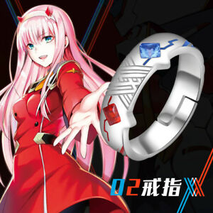 Anime Darling in the Franxx 02 Zero Two Ring Silver Adjustable Ring Cosplay Gift