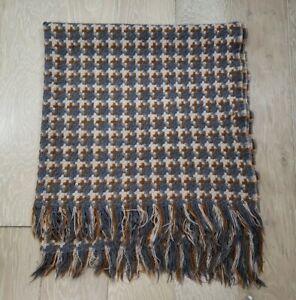 Vintage Pendleton Wool Woven Knit Fringed Stadium Throw Blanket Brown Gray Beige