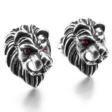 MENDINO Men's Stainless Steel Stud Earrings CZ Red Eyes Lion Head Silver Tone