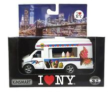 I Love New York Diecast Metal White Ice Cream Truck with Pullback Motor Action