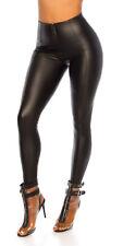 Leder Look Leggings im High Waist-Style mit Zipper