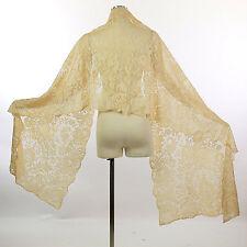 Antique vintage Victorian 19th century blonde lace silk shawl