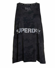 New Womens Superdry Night Runner Tank Top Leopard Camo Black