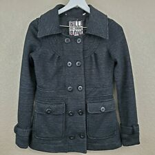 BILLABONG Womens Size S Black Gray Pea Coat Jacket Double Breasted Cotton Blend
