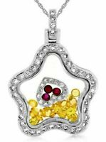 3.40CT DIAMOND AAA RUBY & YELLOW SAPPHIRE 14K WHITE GOLD FLOWER FLOATING PENDANT