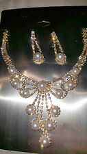 Gold Colour Diamante set - Faux Pearl & Necklace & earrings wedding prom set 1