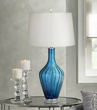 Coastal Table Lamp Blue Glass Fluted Vase White for Living Room Bedroom