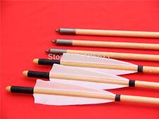 12PK White Wood Traditional Hunting Arrows Hunting Target Broadheads self Nock