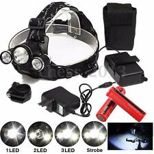 11000LM 3x T6 LED Bike Rechargeable Headlight Headlamp Light Charger 18650