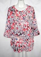 NEW WOMEN'S CROFT & BARROW MULTICOLOR FLORAL 3/4 SLEEVE TOP SIZE M $40 MSRP BNWT