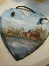 Slate heart painting with a leather hanger landscape of cottages