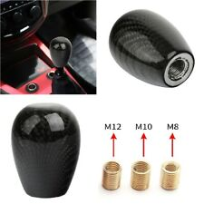 Car Gear Shift Knob Oval Ball Shape Black Carbon Fiber Universal With 3 Adapters