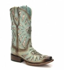 Corral Ladies Square Toe Mint Glitter Inlay Boot C3262