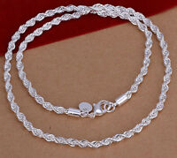 """925 Sterling Silver Women's Rope Wide 24"""" Necklace +Free Gift Pouch D184"""