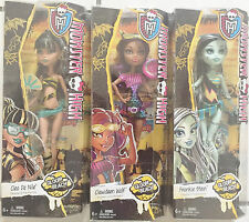 NEW Monster High Gloom Beach Set of 3 Clawdeen Wolf, Cleo De Nile, Frankie Stein