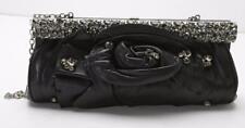 VALENTINO Petal Rose Black Leather Evening Bag Crystal Frame Clutch Handbag Bag