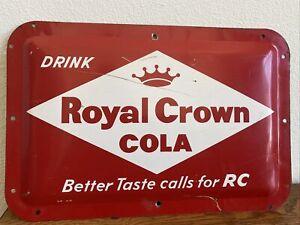 Vintage Royal Crown Cola embossed metal sign