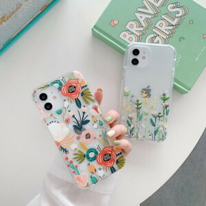 For iPhone 12 11 Pro Max XR XS 8 7 Plus Clear Flower Printed Soft 360 Case Cover