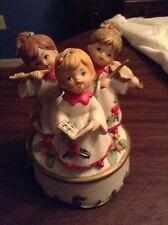 Lefton Music Box Christmas Vintage Musical 3 Angel Choir 2153 hand Paint As Is