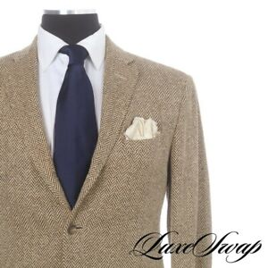 Polo Ralph Lauren Made Italy 100% Silk Slubby Mocha Brown Herringbone Jacket 42