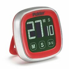 Polder Digital Touch Screen Kitchen Cooking Timer, Red