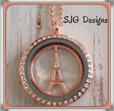 MAKING MEMORIES  locket Rose Gold plated  Paris Eiffel Tower 45 cm necklace