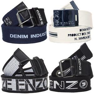 ENZO Designer Mens Canvas Belts Womens Unisex Adjustable Buckle Webbing Belt