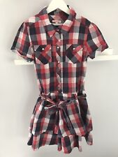 Girls Blue Zoo Age 11 Years red/blue Checked Party Dress short sleeve debenhams