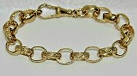 SOLID 9CT YELLOW GOLD ON SILVER 6.5 INCH KID'S BELCHER BRACELET
