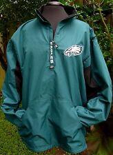Philadelphia Eagles NFL Football Pullover Windbreaker 1/4 zipper Fleece linned
