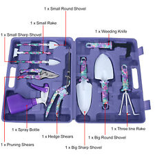 10Pcs Garden Tools Set Gardening Portable Stainless Tools + Purples Case